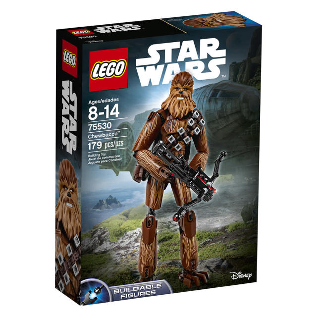 "<p>""Roar into battle with everyone's favorite Wookiee, Chewbacca! Strap on his ammo belt and bag, grab his spring-loaded bowcaster and put him in a cool battle pose. This is the biggest, baddest (yet still lovable) Lego Wookiee ever!"" $34.99 (Photo: Lego) </p>"