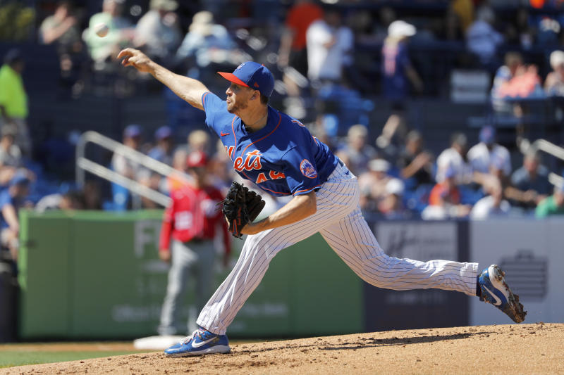 New York Mets pitcher Jacob deGrom throws during the second inning of a spring training baseball game against the Washington Nationals Sunday, March 1, 2020, in Port St. Lucie, Fla. (AP Photo/Jeff Roberson)