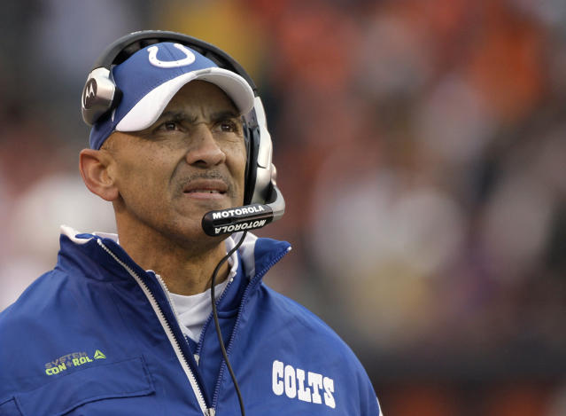 FILE - In this Nov. 30, 2008, file photo, Indianapolis Colts coach Tony Dungy watches from the sideline as his team plays the Cleveland Browns during the third quarter of an NFL football game in Cleveland. Dungy is the first African-American head coach to win a Super Bowl and has been a strong advocate of more diversity in coaching hires. (AP Photo/Amy Sancetta, File)