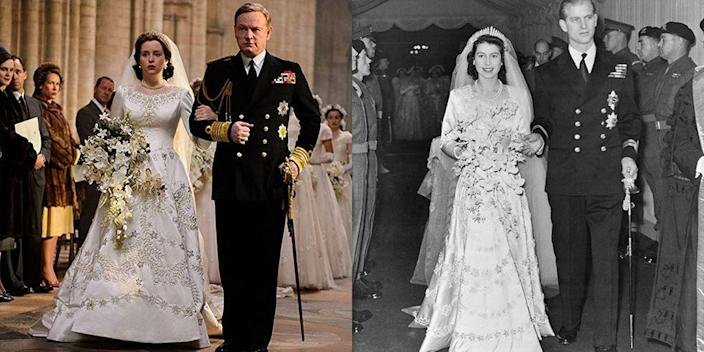 <p>Not everything about Princess Elizabeth's wedding dress was the same. Her ivory satin dress had slightly different embroidery on the show and her lace-trimmed neckline was replaced with encrusted pearls, sequins, and diamonds. But don't think the show took the recreation of the iconic dress lightly: It took seven weeks to make and cost about $37,000.</p>