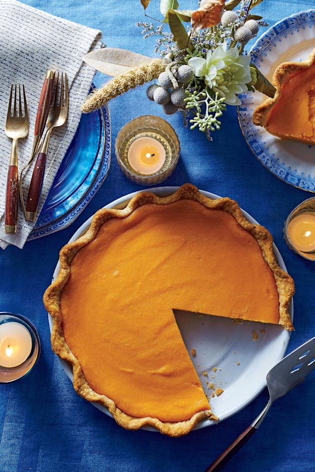 """<p><strong>Recipe: <a rel=""""nofollow"""" href=""""http://www.myrecipes.com/recipe/brown-butter-sweet-potato-pie"""">Brown Butter Sweet Potato Pie</a></strong></p> <p>Your hands on time is cut with the use of a refrigerated pie crust. Browning the butter with fragrant cinnamon and cloves gives this classic Southern pie a new twist.</p>"""