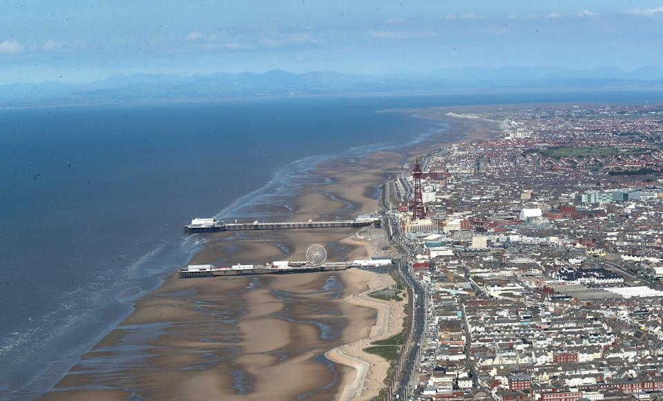 An aerial view of Blackpool Tower and beach (Peter Byrne/PA) (PA Archive)