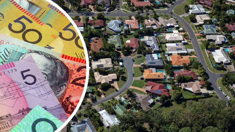 Pictured: Aerial view of Australian homes, Australian cash. Images: Getty