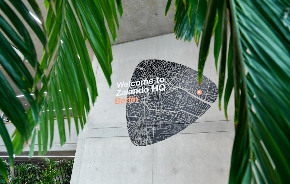 10 April 2019, Berlin: The newly opened headquarters of the Zalando Campus in Valeska-Gert-Straße. The campus consists of 12 buildings with currently 6000 employees. Photo: Jens Kalaene/dpa-Zentralbild/dpa (Photo by Jens Kalaene/picture alliance via Getty Images)