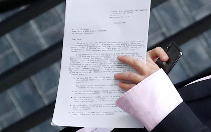 A close up of the letter Dominic Cummings was seen holding outside Downing Street - PETER NICHOLLS/REUTERS
