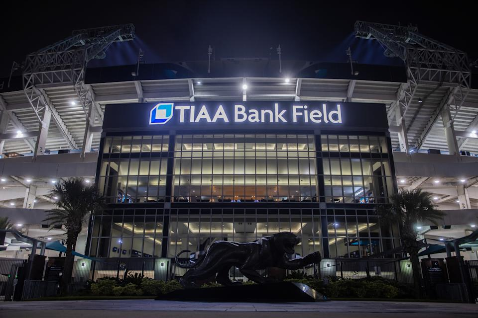 Due to Hurricane Ida, the Saints will play their first home game of the 2021 season at TIAA Bank Field in Jacksonville, the home of the Jaguars. (Photo by James Gilbert/Getty Images)