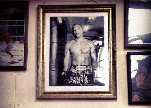 Norifumi Yamamoto's legacy, framed on the wall of the Krazy Bee gym he trains at. (Yahoo! Photo)