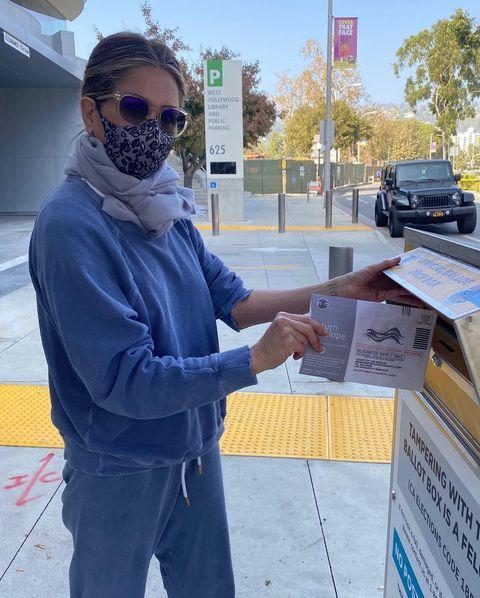 "<p>The Friends star shared a photograph of herself dropping off her postal vote while encouraging followers to get out and vote, but also <a href=""https://www.elle.com/uk/life-and-culture/a34478856/jennifer-aniston-instagram-kanye-west/"" rel=""nofollow noopener"" target=""_blank"" data-ylk=""slk:warned to 'be responsible' and not vote for Kanye West."" class=""link rapid-noclick-resp"">warned to 'be responsible' and not vote for Kanye West.</a></p><p><a href=""https://www.instagram.com/p/CGskEr_jE5d/"" rel=""nofollow noopener"" target=""_blank"" data-ylk=""slk:See the original post on Instagram"" class=""link rapid-noclick-resp"">See the original post on Instagram</a></p>"
