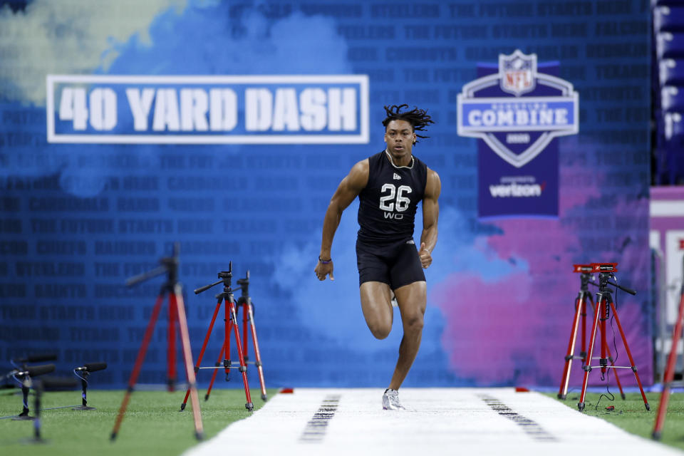 Justin Jefferson, who would be the first-round pick of the Vikings, runs the 40-yard dash during the NFL scouting combine. (Photo by Joe Robbins/Getty Images)