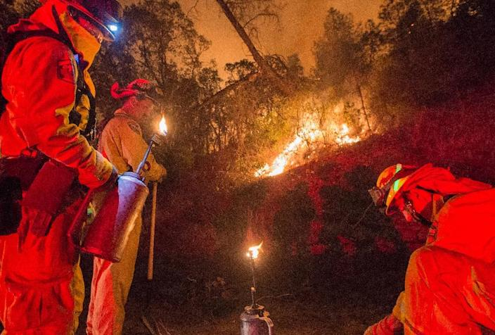 Firefighters light back fires in an attempt to control the Rocky fire near Clear Lake, California on August 2, 2015 (AFP Photo/Josh Edelson)