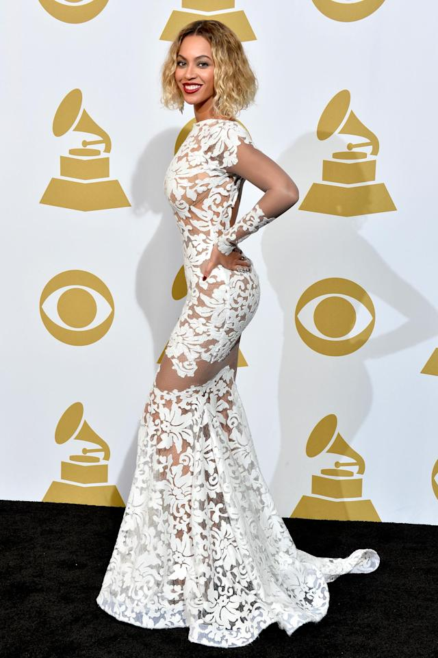 Beyoncé during the 56th Grammy Awards in 2014. (Photo: Getty Images)