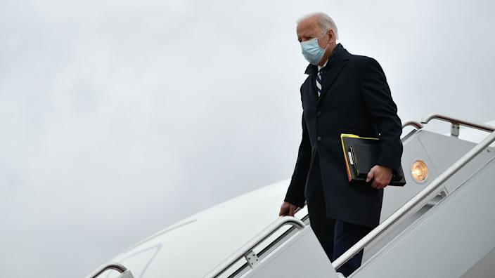 US President Joe Biden steps off Air Force One upon arrival at Andrews Air Force Base in Maryland on March 1, 2021.(Mandel Ngan/AFP via Getty Images)
