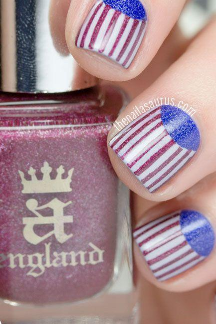 "<p>Take your <a href=""https://www.goodhousekeeping.com/beauty/nails/how-to/a37010/reverse-french-manicure-tutorial/"" rel=""nofollow noopener"" target=""_blank"" data-ylk=""slk:half moon mani"" class=""link rapid-noclick-resp"">half moon mani</a> to the next level by making its base color an actual design: red and silver stripes!</p><p><a href=""http://www.thenailasaurus.com/2015/09/half-moon-nail-art-tutorial.html"" rel=""nofollow noopener"" target=""_blank"" data-ylk=""slk:See more on The Nailasaurus »"" class=""link rapid-noclick-resp""><em>See more on The Nailasaurus »</em></a></p>"