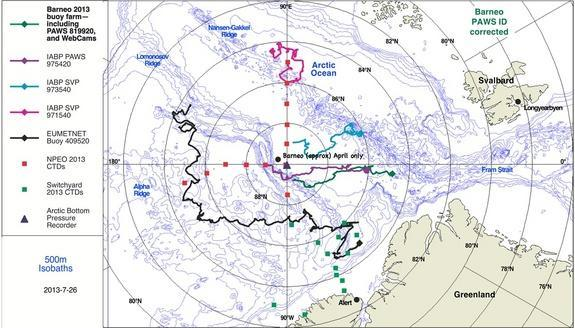 Map showing the location of the North Pole and the location of the buoys with the webcams.