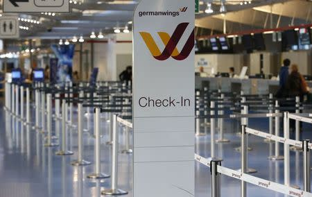 Empty and closed gates of Lufthansa's German low-cost carrier Germanwings are seen at Berlin Tegel airport