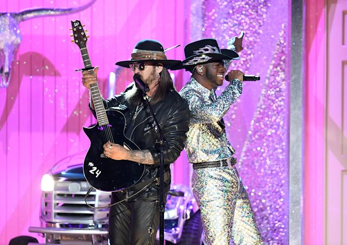 Billy Ray Cyrus and Lil Nas X perform onstage during the 62nd Annual Grammy Awards on Jan. 26, 2020, in Los Angeles. (Photo: Kevin Winter via Getty Images)