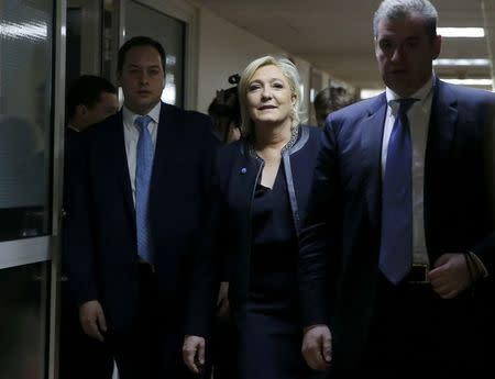 Marine Le Pen, French National Front political party leader and candidate for French 2017 presidential election, arrives for meeting with members of Russian lower house of parliament's international affairs committee in Moscow