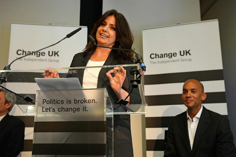 Change UK interim leader Heidi Allen speaks during a pro EU-party Change UK rally at Church House in Westminster, London, Tuesday April 30, 2019. (Kirsty O'Connor/PA via AP)