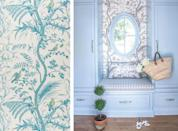 "<p>Originating in the 18th century, <a href=""https://www.kravet.com/bird-and-thistle-aqua"" rel=""nofollow noopener"" target=""_blank"" data-ylk=""slk:Bird and Thistle"" class=""link rapid-noclick-resp"">Bird and Thistle</a> is an English archival print initially printed on a cream cotton tabby from an engraved copper plate at the Bromley Hall print works from 1780–1785. <a href=""https://www.kravet.com"" rel=""nofollow noopener"" target=""_blank"" data-ylk=""slk:Brunshwig & Fils"" class=""link rapid-noclick-resp"">Brunshwig & Fils</a> reintroduced this pattern nearly 200 years later in both fabric and paper, and these frolicking birds have since enjoyed an unparalleled resurgence among interior design enthusiasts. We adore how <a href=""https://clarybosbyshelldesign.com/"" rel=""nofollow noopener"" target=""_blank"" data-ylk=""slk:Clary Bosbyshell"" class=""link rapid-noclick-resp"">Clary Bosbyshell</a> designs a feminine entryway vignette employing this class chinoiserie. <br></p>"