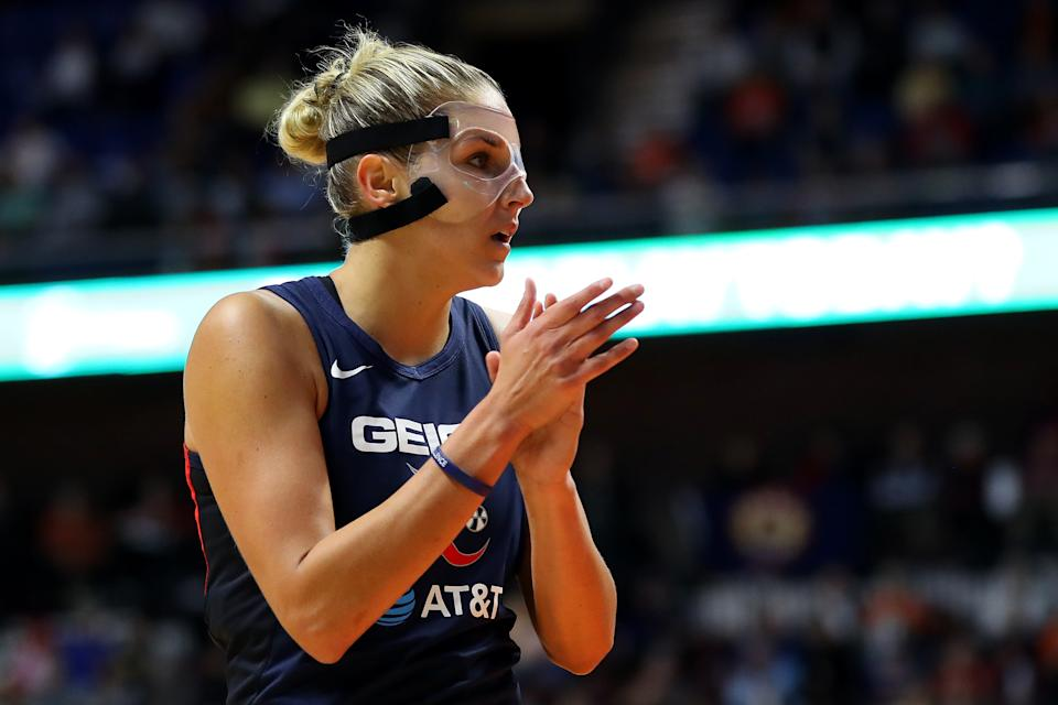 UNCASVILLE, CONNECTICUT - OCTOBER 08: Elena Delle Donne #11 of Washington Mystics looks on during Game Four of the 2019 WNBA Finals between the Washington Mystics and Connecticut Sun at Mohegan Sun Arena on October 08, 2019 in Uncasville, Connecticut.  (Photo by Maddie Meyer/Getty Images)