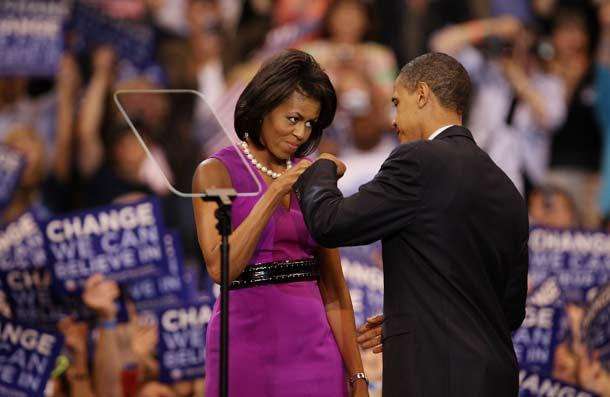 <p>The Obamas bump fists at an election night rally in 2008 in St. Paul, Minnesota. Barack had just clinched the Democratic presidential nomination and Michelle's pride radiated across the world.</p>