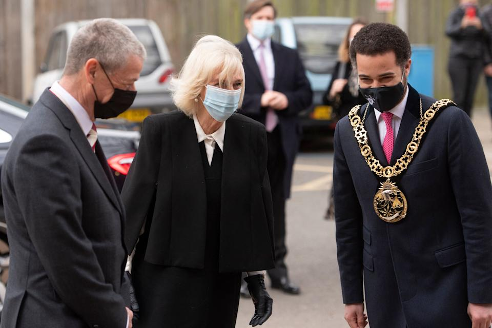 Britain's Camilla, Duchess of Cornwall arrives for a visit to meet staff, volunteers and patients receiving the COVID-19 vaccine, at the Lordship Lane Primary Care Centre Vaccination Centre in north London on April 7, 2021. (Photo by Geoff Pugh / POOL / AFP) (Photo by GEOFF PUGH/POOL/AFP via Getty Images)