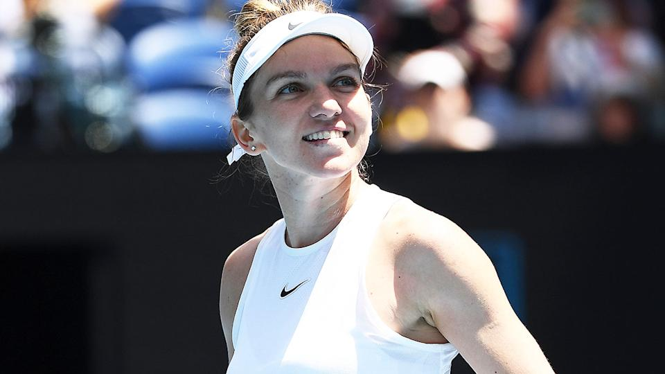 Simona Halep smiling during the Australian Open.