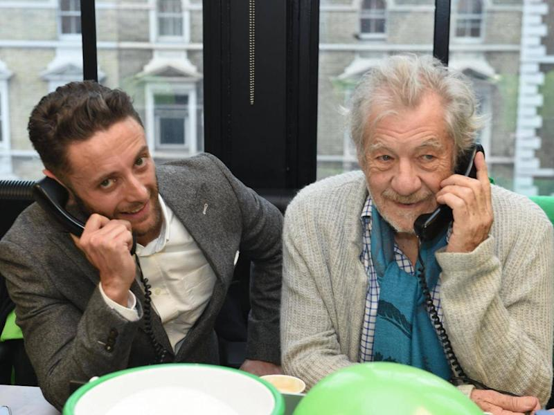 The Independent editor Christian Broughton with actor Ian McKellen (Evening Standard)