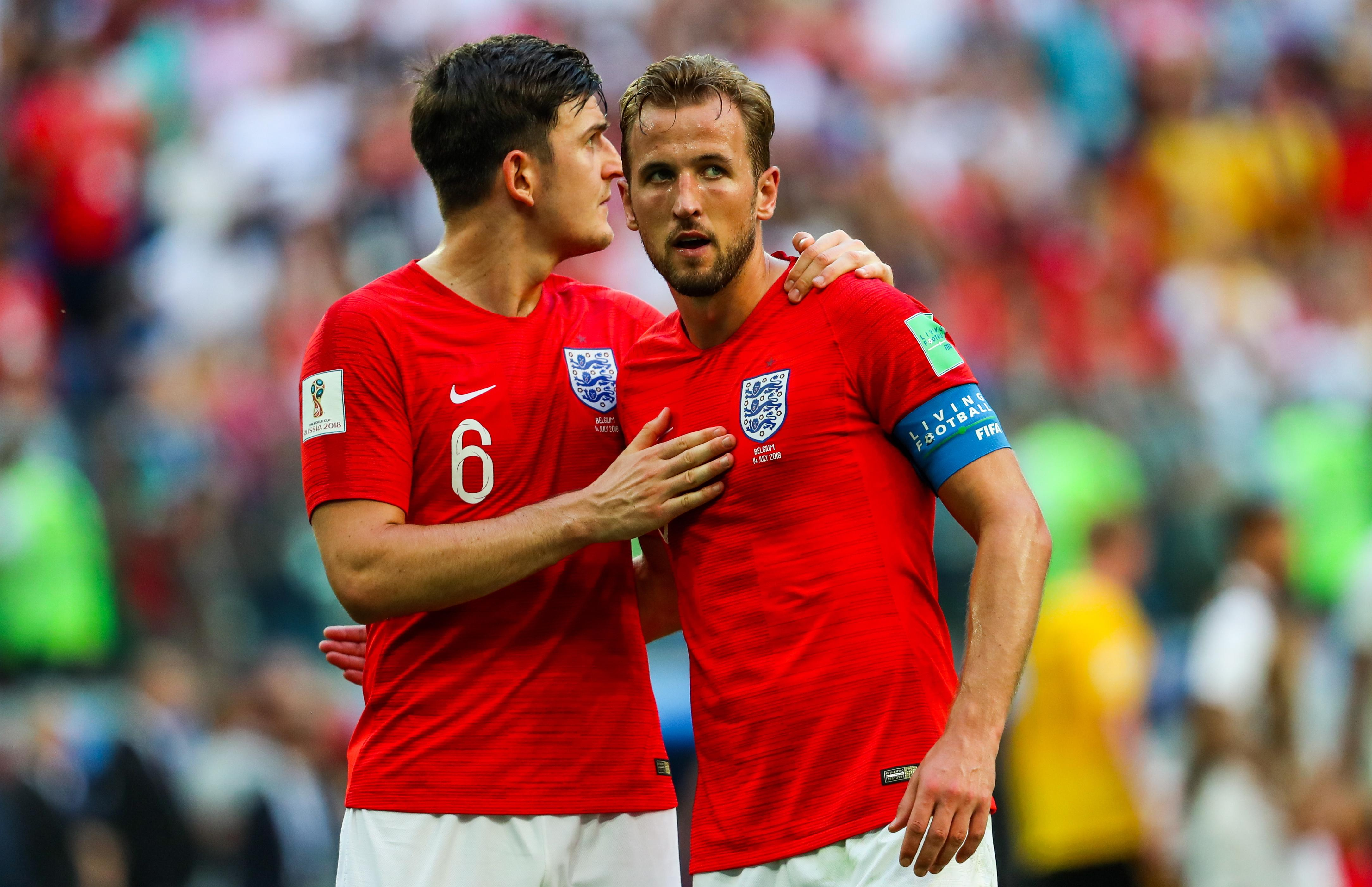 ST PETERSBURG, RUSSIA - JULY 14, 2018: England's Harry Maguire (L) and Harry Kane after losing the 2018 FIFA World Cup Play-off for third place match against Belgium at St Petersburg Stadium. Belgium won the game 2-0. Sergei Savostyanov/TASS (Photo by Sergei Savostyanov\TASS via Getty Images)