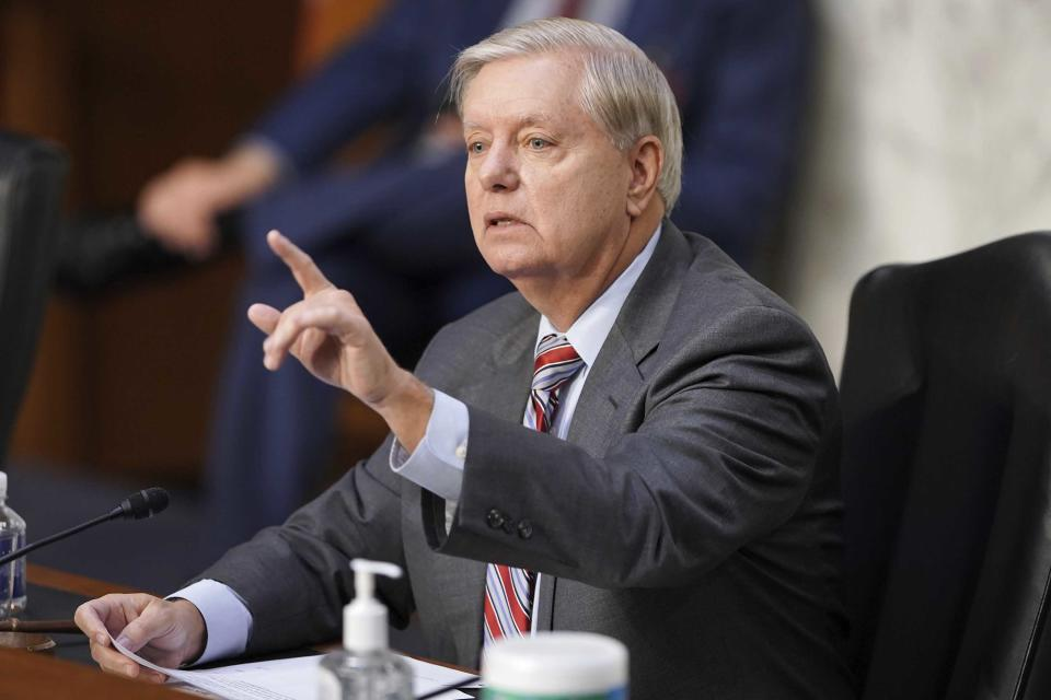 Sen. Lindsey Graham, R-S.C., speaks during the confirmation hearing for Supreme Court nominee Amy Coney Barrett, before the Senate Judiciary Committee, Thursday, Oct. 15, 2020, on Capitol Hill in Washington. (Greg Nash/Pool via AP)