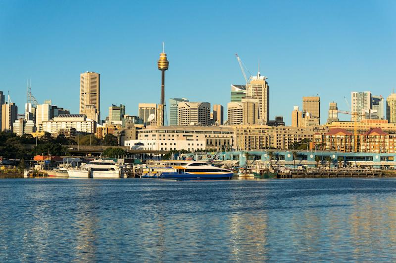 Sydney CBD city view of Sydney fish market and Central Business District as viewed from Blackwattle Bay. Office and residential skyscraper buildings of Sydney, NSW, Australia