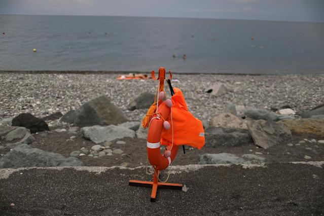A life vest and a lifesaver are seen at a beach in Sochi, one of the host cities for the 2018 FIFA World Cup, Russia June 23, 2018. As well as shooting all the matches, Reuters photographers are producing pictures showing their own quirky view from the sidelines of the World Cup. REUTERS/Pilar Olivares