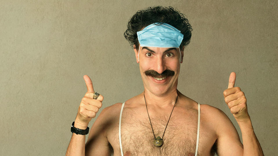 Sacha Baron Cohen in 'Borat Subsequent Moviefilm'. (Credit: Amazon)