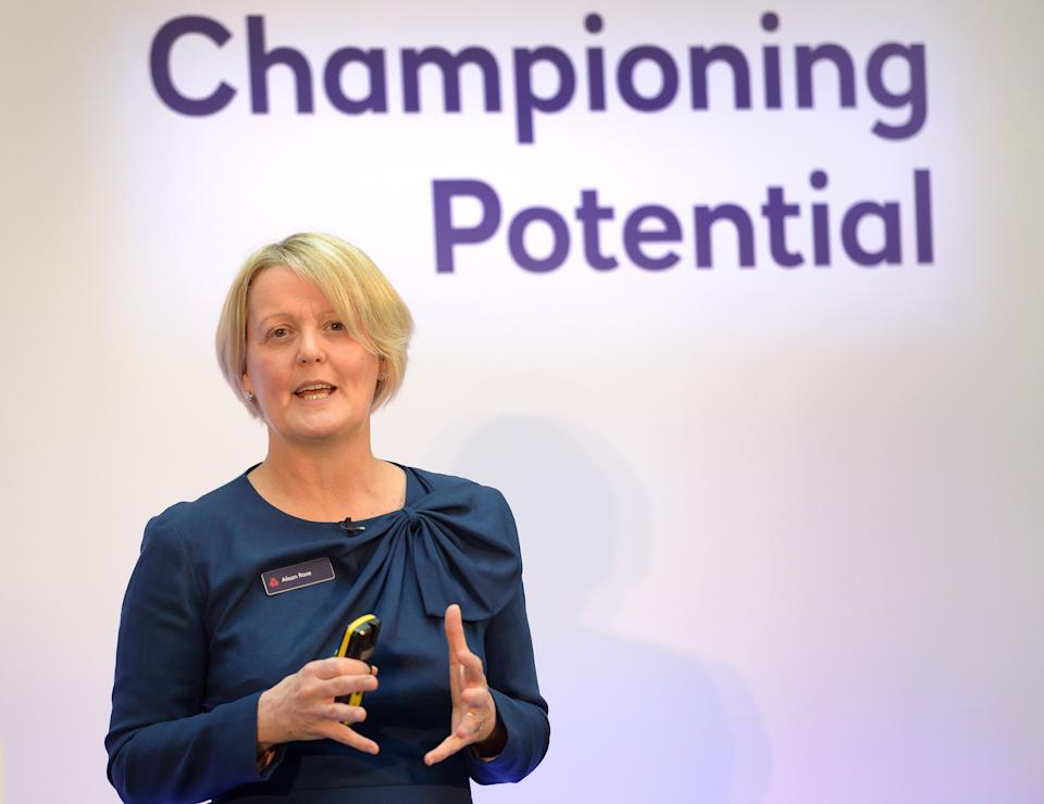 Royal Bank of Scotland CEO Alison Rose gives a speech to staff and stakeholders for the publication of the annual results at the bank's London headquarters. (Photo by Nick Ansell/PA Images via Getty Images)