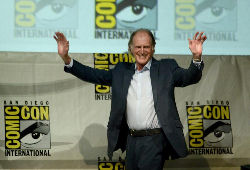 "FILE - This July 21, 2013 file photo shows actor David Bradley at the ""Doctor Who"" 50th Anniversary panel on Day 5 of Comic-Con International in San Diego. From the hit British series ""Broadchurch"" to ""Game of Thrones"" to ""An Adventure in Space and Time"" about the creation of ""Dr Who"", Bradley has had a busy year. Bradley attended the BBC America panel Thursday, July 25, to promote his role as, William Hartnell, the first actor to play Dr. Who, in a TV movie called ""An Adventure in Space and Time."" It will air in November coinciding with the 50th Anniversary of ""Dr Who."" (Photo by Jordan Strauss/Invision/AP, File)"