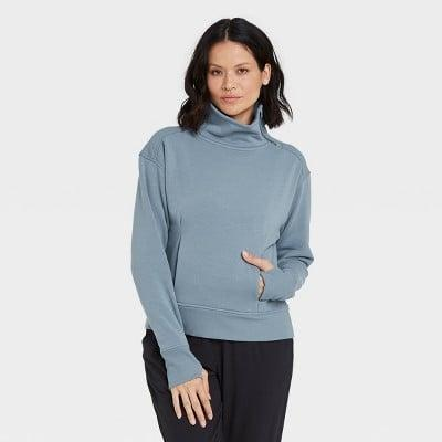 <p>If you want to add a little something different to your workout wardrobe, try this cool <span>All in Motion Asymmetrical Zip Pullover Sweatshirt</span> ($30).</p>