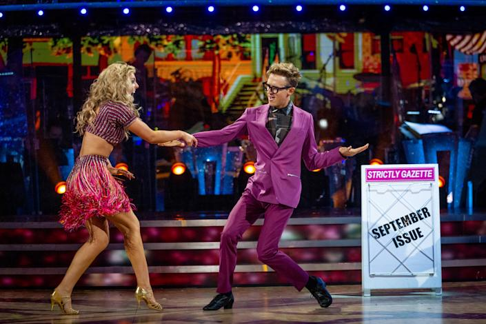 Tom Fletcher and Amy Dowden kicked off 'Strictly' 2021 dancing the Cha Cha for the very first dance of the series. (BBC)