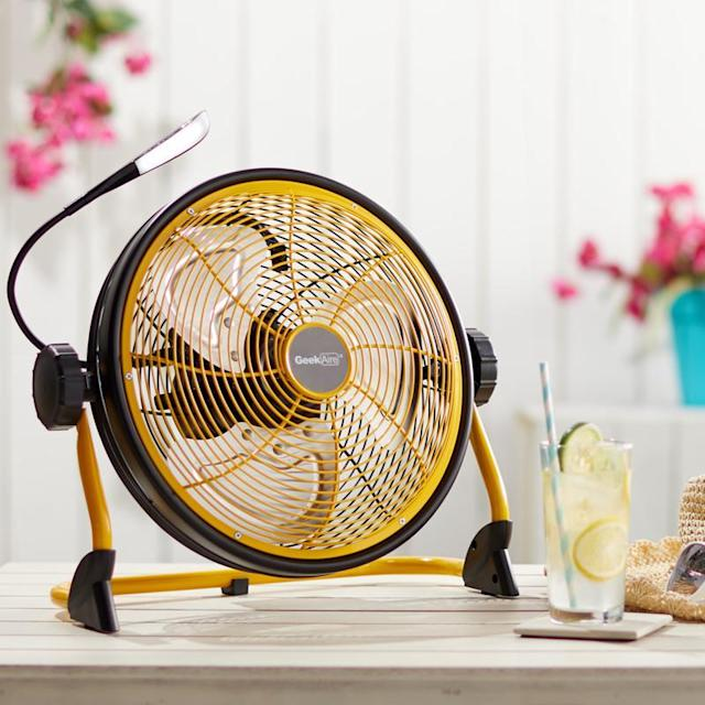 """The Geek Aire 12"""" Rechargeable Water-Resistant Fan with LED Light is lightweight and rust-proof."""