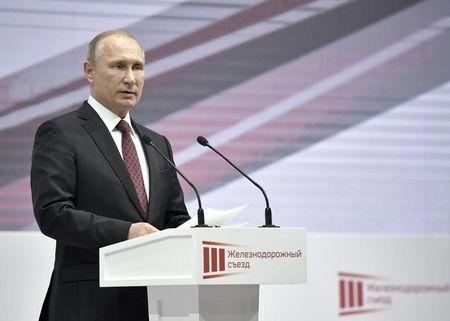 Russian President Putin delivers a speech at the Railway Congress in Moscow
