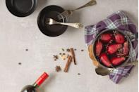 """<p>A holiday favorite, poached pears can actually be enjoyed on any cold evening in as little as 10 minutes. These pears are dressed in a luxe sauce, but you can <a href=""""https://www.goodhousekeeping.com/holidays/thanksgiving-ideas/g2929/microwave-cooking-thanksgiving-shortcuts/"""" rel=""""nofollow noopener"""" target=""""_blank"""" data-ylk=""""slk:make a quick syrup"""" class=""""link rapid-noclick-resp"""">make a quick syrup</a> with lemon and sugar if you'd like to enjoy a more refined dessert.</p><p><a href=""""https://www.goodhousekeeping.com/food-recipes/a4584/quick-poached-pears-ruby-red-raspberry-sauce-1252/"""" rel=""""nofollow noopener"""" target=""""_blank"""" data-ylk=""""slk:Get the recipe for Quick Poached Pears With Ruby-Red Raspberry Sauce »"""" class=""""link rapid-noclick-resp""""><em>Get the recipe for Quick Poached Pears With Ruby-Red Raspberry Sauce »</em></a></p><p><strong>RELATED: </strong><a href=""""https://www.goodhousekeeping.com/food-recipes/dessert/g1/fresh-fruit-dessert-recipes/"""" rel=""""nofollow noopener"""" target=""""_blank"""" data-ylk=""""slk:25 Healthy Fruit Dessert Recipes"""" class=""""link rapid-noclick-resp"""">25 Healthy Fruit Dessert Recipes</a></p>"""