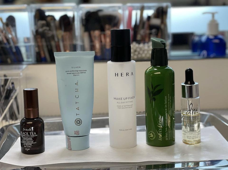 """<p>To prep Holt for makeup, Trujillo used a five-step routine comprised of the <span>Innisfree Green Tea Seed Essence-in-Lotion</span> ($84), <span>Fresh Black Tea Firming Eye Serum</span> ($72), <span>Danessa Myricks Beauty Oil</span> ($30), and <span>Tatcha Silken Pore Perfecting Sunscreen Broad Spectrum SPF 35 PA+++</span> ($65).</p> <p>Because Kate was supposed to look like a '90s MAC girl through and through Trujillo used primarily the brand's products on her. """"I used <span>Eyeshadow in Haux</span> ($18) on her eyelid, primed the lid with the <span>Longwear Paint Pot Cream Eyeshadow in Groundwork</span> ($23), and used the <span>Powerpoint Eye Pencil</span> ($19),"""" she said. Kate's lip color started out as a matte lipstick in the shade <span>Mehr</span> ($19) in '93, a mid-tone mauve pink, and change to a grey-brown in '95 called <span>Coffee and Cigarettes</span> ($21).</p>"""