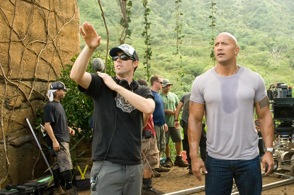 """Brad Peyton and Dwayne Johnson in Warner Bros. Pictures' <a href=""""http://movies.yahoo.com/movie/journey-2-the-mysterious-island/"""">Journey 2: The Mysterious Island</a> - 2012"""