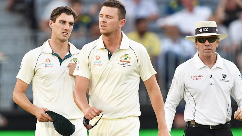 Josh Hazlewood, pictured here after suffering an injury against New Zealand.