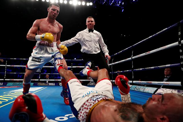 Boxing - Sean Dodd v Tommy Coyle - Commonwealth Lightweight Title - Echo Arena, Liverpool, Britain - April 21, 2018 Sean Dodd is knocked down by Tommy Coyle Action Images via Reuters/Andrew Couldridge