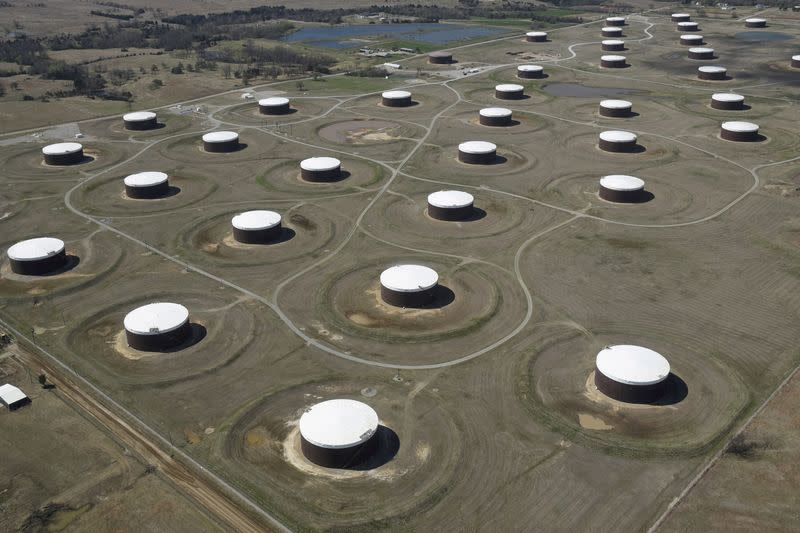 FILE PHOTO: Crude oil storage tanks are seen from above at the Cushing oil hub in Oklahoma