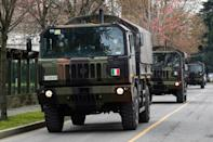 The Italian army trucks transported up top 70 coffins a day from the Bergamo church at the height of the pandemic in March last year