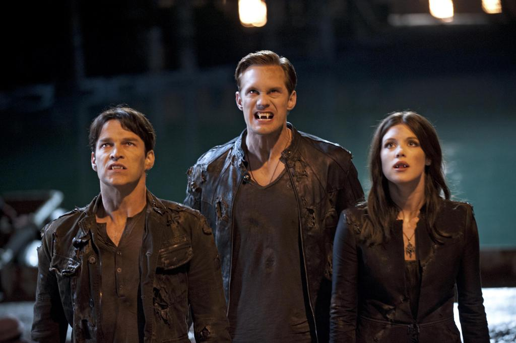 Stephen Moyer as Bill Compton, Alexander Skarsgard as Eric Northman, and Lucy Griffiths as Nora