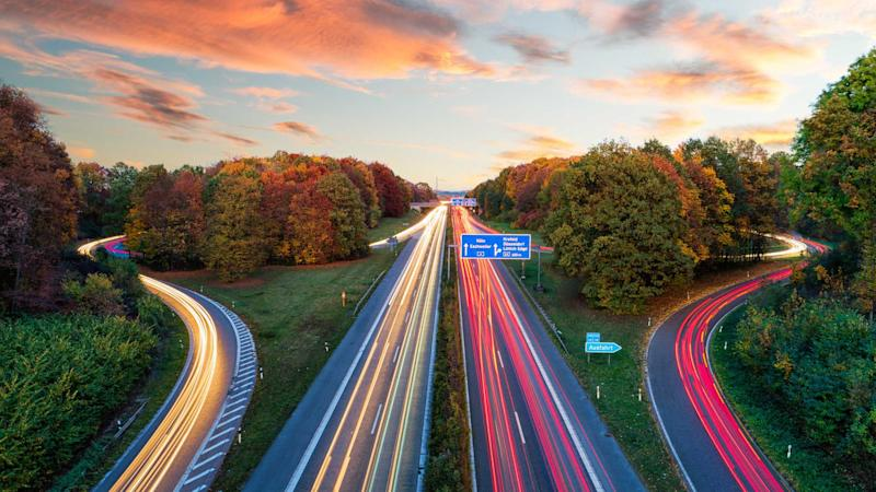 Sunset at the Autobahn in Aachen Germany