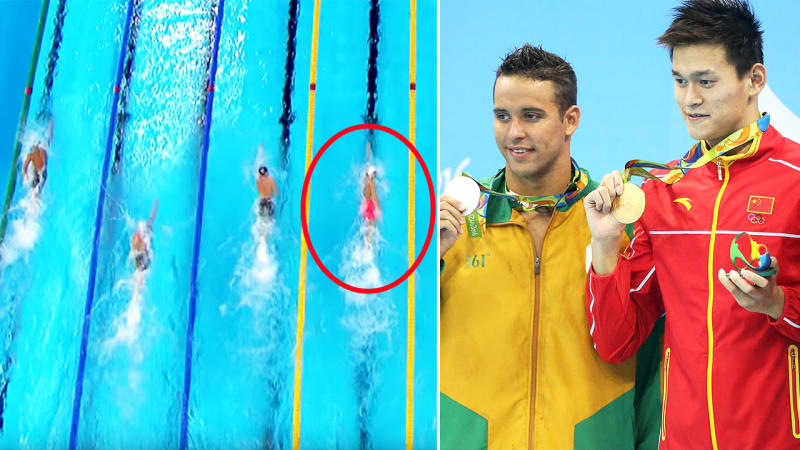 Sun Yang, pictured here powering past Charles le Clos to claim gold at the Rio 2016 Olympics.