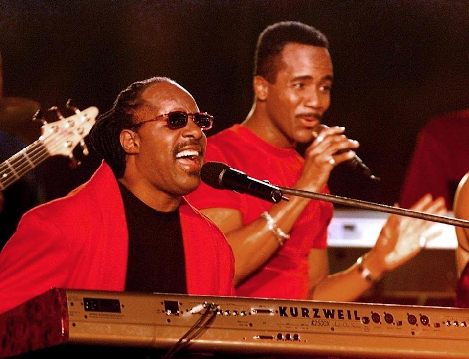 <p>Stevie Wonder picked up the show in red and black. </p>
